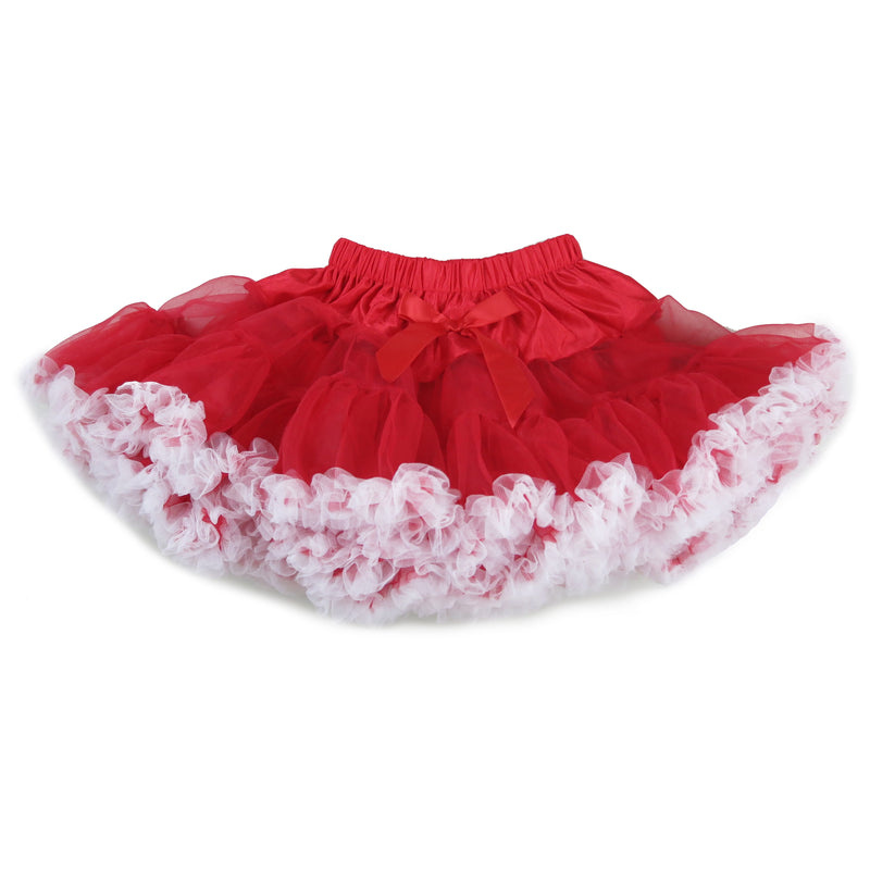 Fluffy Red Chiffon Petti Skirt White Trim