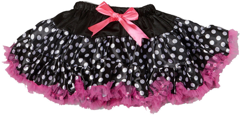 Black White Dot Tutu With Hot Pink Trim