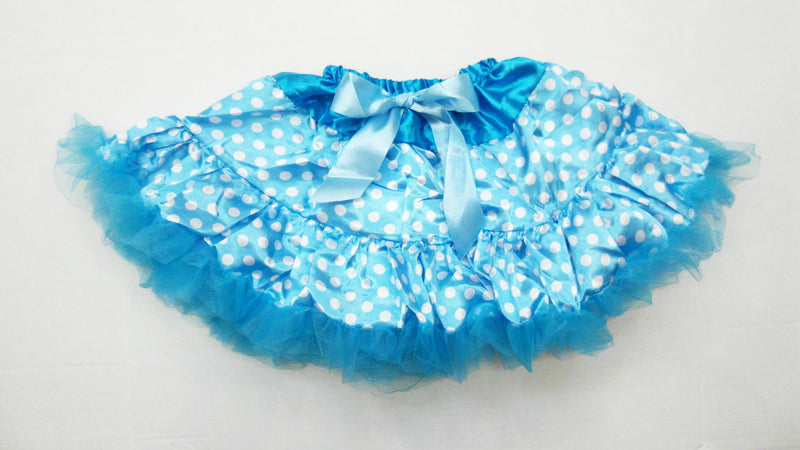 Blue White Polka-Dot Satin Tutu