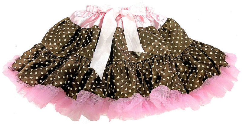 Brown Pink Polka-Dot Satin Tutu