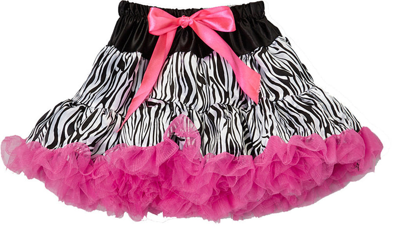 Zebra Hot Pink Trim Satin Tutu