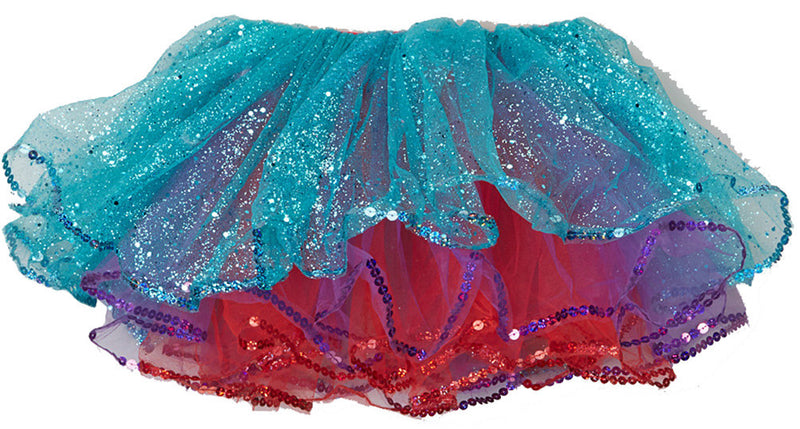 Teal/Purple/Red Glitter Reversible Tutu