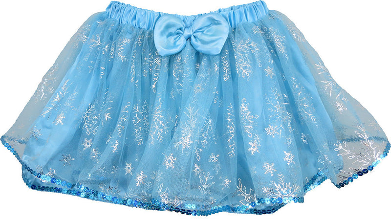 Baby Blue Silver Snowflake Tutu With Sequin Trim