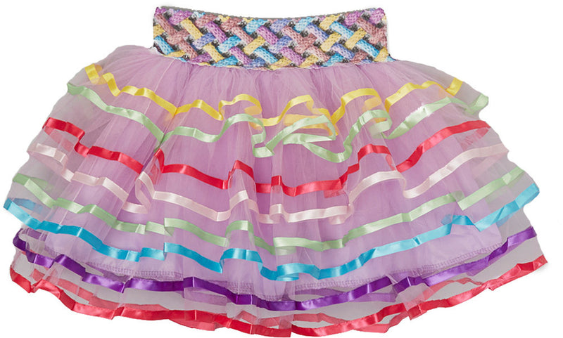 Rainbow Ribbon Trim Lavender Tutu