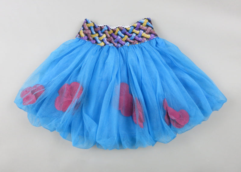 Blue Bubble Skirt With Hot Pink Petal