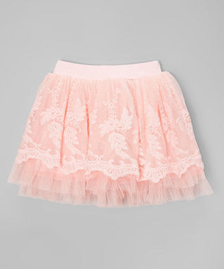 Coral Pink Lace Tutu Skirt Cotton Underneath
