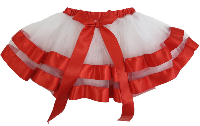 White Tutu Skirt With Red Ribbon Trim