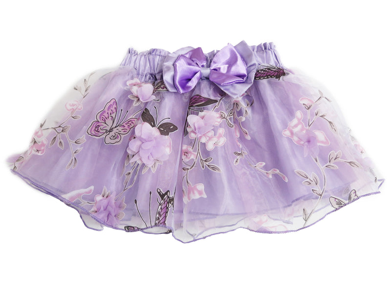 Purple 3-D Flower-Butterfly Tutu Skirt