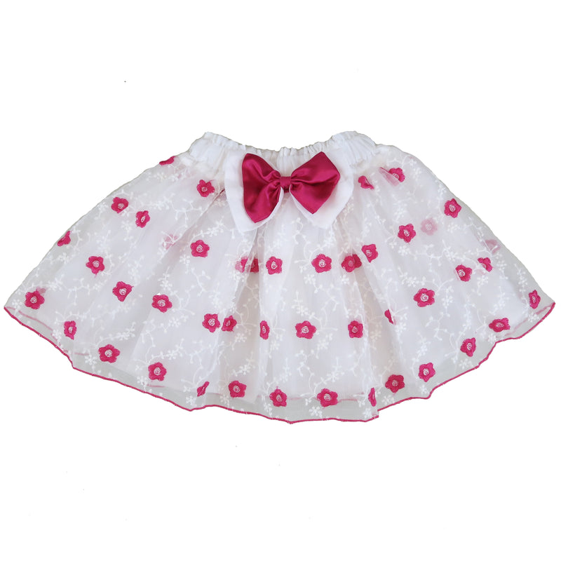 Hot Pink Embroidery Flower White Tutu Skirt