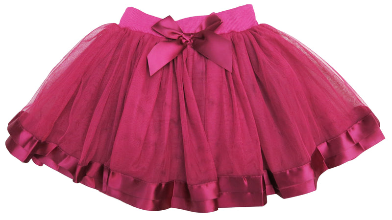 Burgundy Ribbon Trim  Tutu Skirt