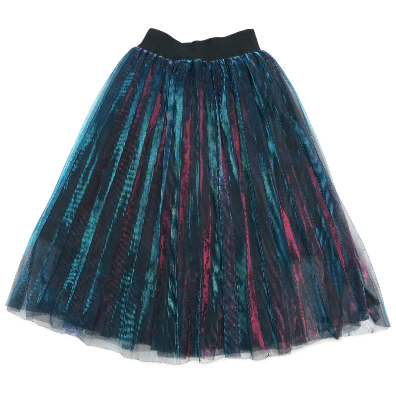 Blue Red Shiny Pleated Long Skirt
