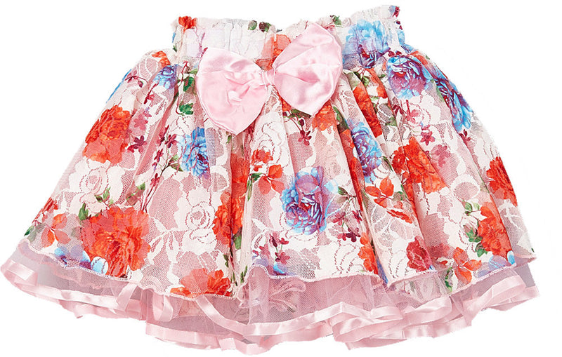 Pink Ribbon/Bow Floral Lace Tutu Skirt