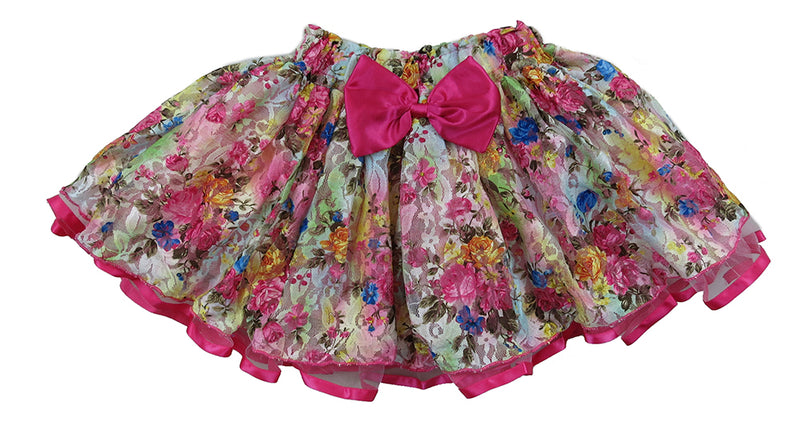 Hot Pink Ribbon/Bow Floral Lace Tutu Skirt