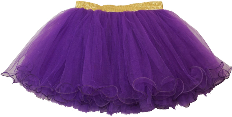 Gold Elastic Purple Tutu Skirt