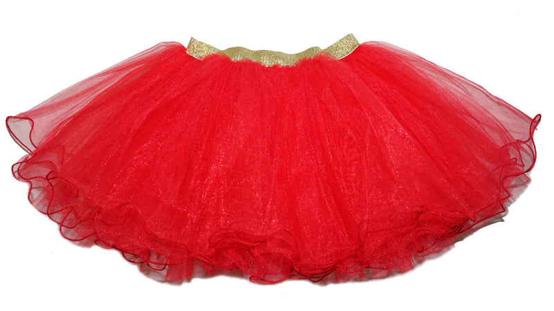 Gold Elastic Red Tutu Skirt