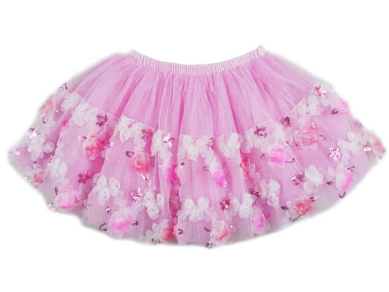 Pink 3-D Rose Sequins Tutu Skirt