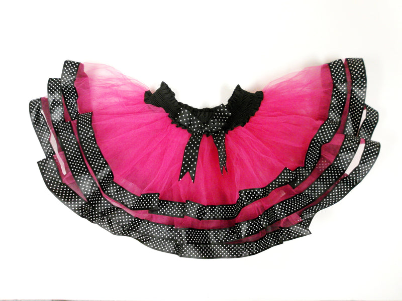 Hot Pink Tutu with Black/White Dot Trim