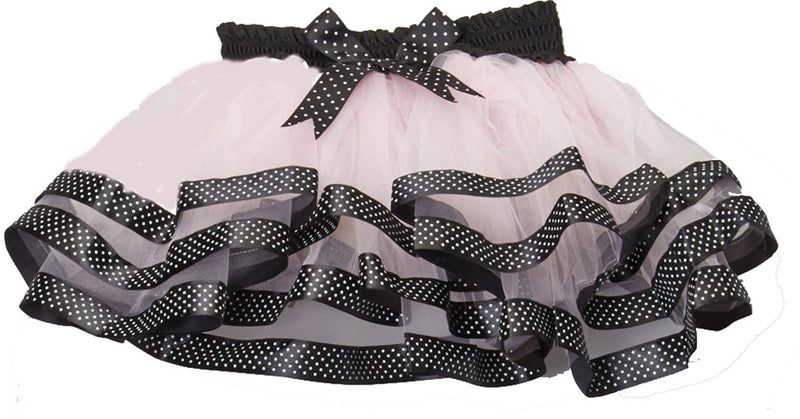 Pink Tutu With Black/White Dot Trim