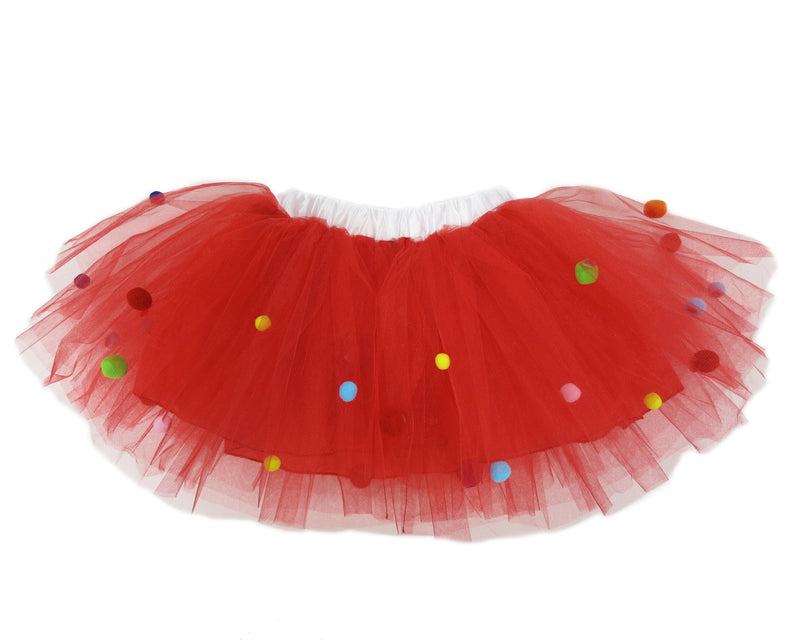 Rainbow Pom-Pom Red Tutu Skirt