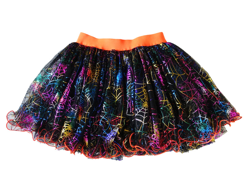 Rainbow Spiderweb Orange Trim Skirt
