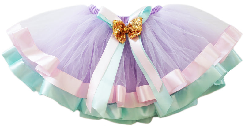 Unicorn Colors Gold Sequin Bow Tutu Skirt