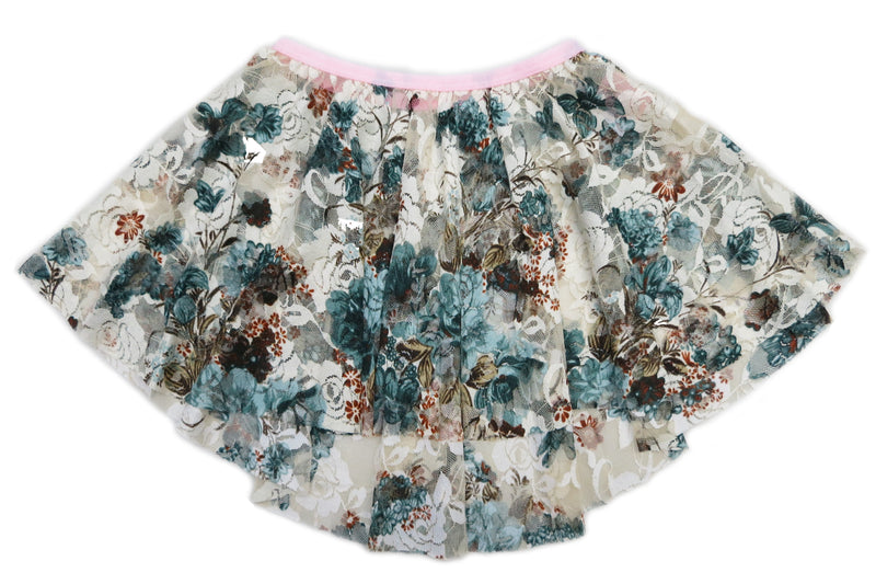 Blue Brown Beige Lace Floral Hi-Low Skirt