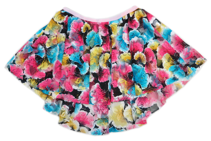 Blue Yellow Hot Pink Lace Floral Hi-Low Skirt