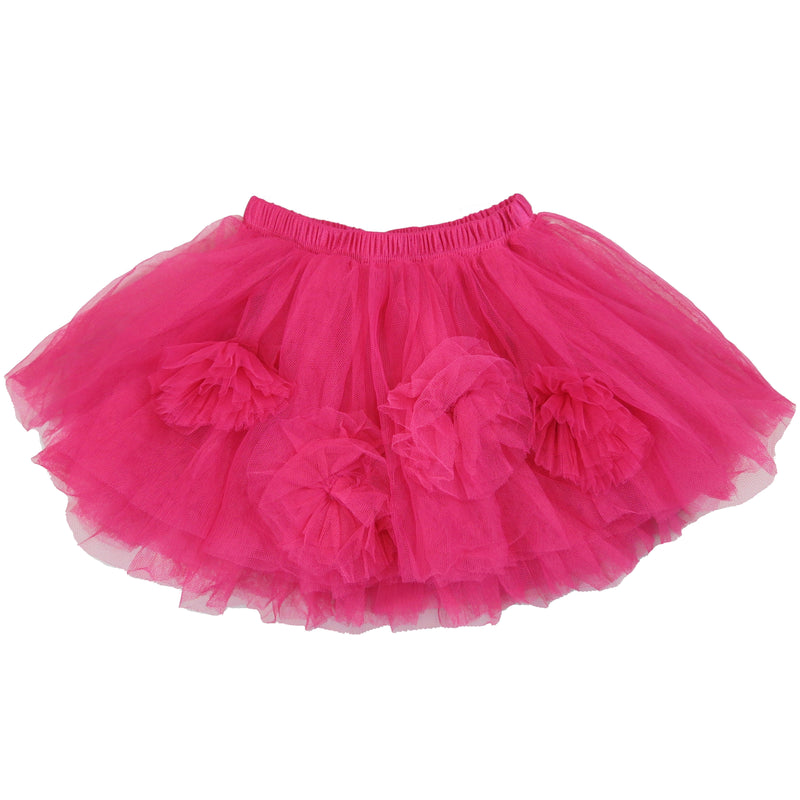 Hot Pink 4-Flower Trim Tutu Skirt