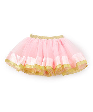 Pink & Gold Wide Ribbon Trim Pink Tutu Skirt