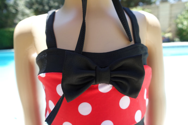 Mickey 1-Piece Swimming Suit With Bow Head Band