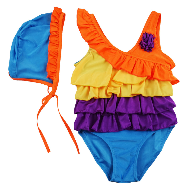 Rainbow Swimming Suit with Cap