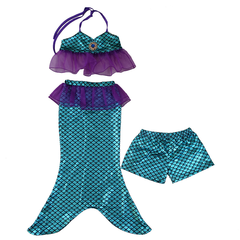 Blue Mermaid 3-Pieces Swimming Suit