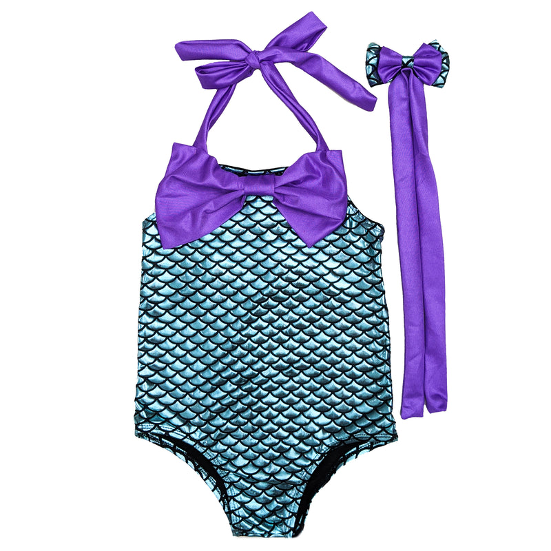 Blue Mermaid Bow Swimming Suit