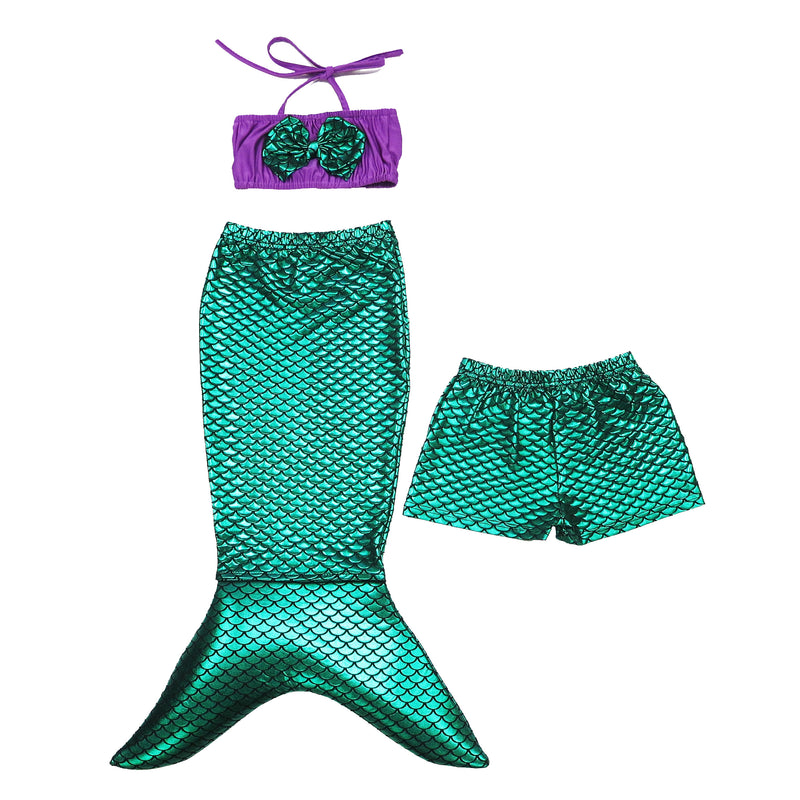 Green Mermaid Tail 3-Pieces Swimming Suit
