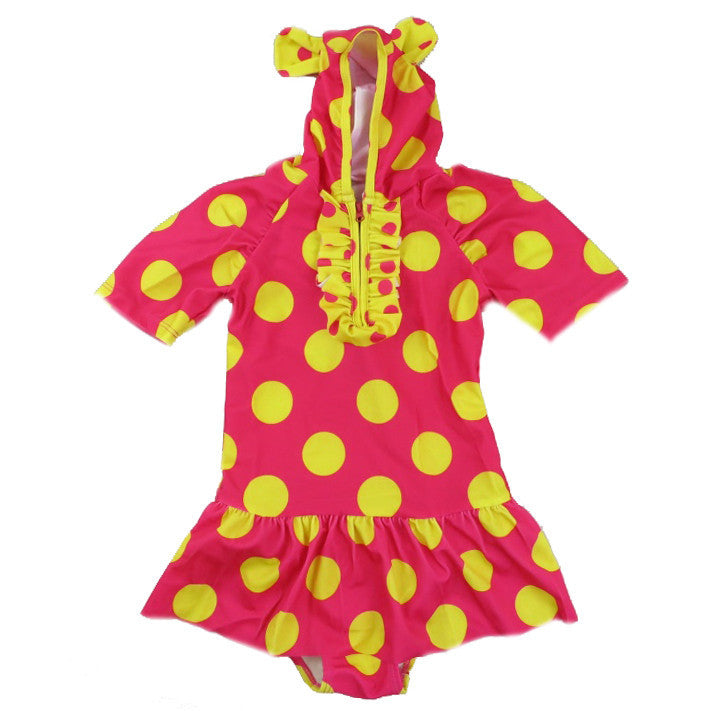 Red & Yellow Polka Dot Cap & Sleeve Swimming Suit