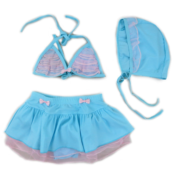 Blue & Pink Lace 3 Pieces Swimming Suit