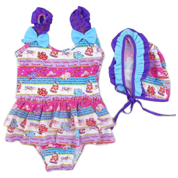 Fasion Print Purple/Blue Swimming Suit & Cap