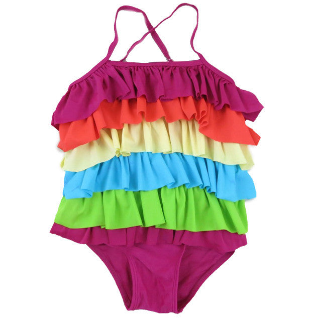 Rainbow Ruffle Swimming Suit