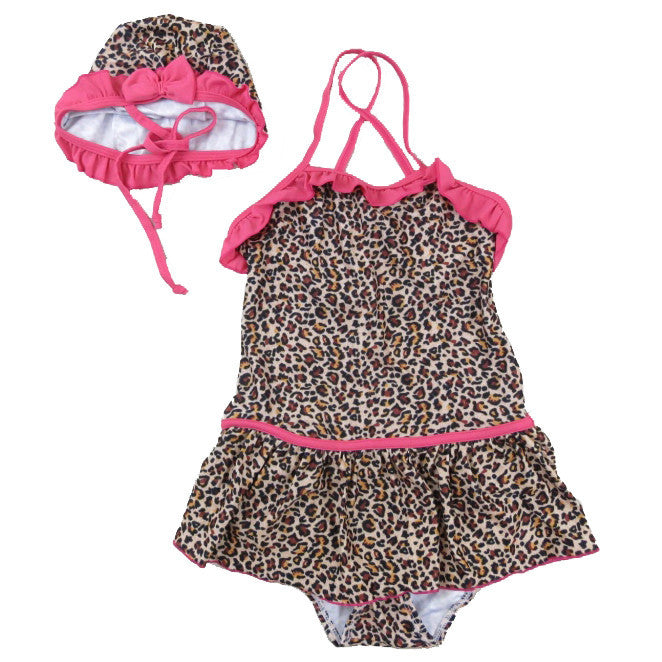 Leopard Swimming Suit & Cap