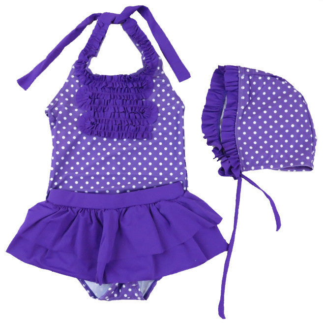 Purple Ruffle Polka Dot 3 Pieces Swimming Suit