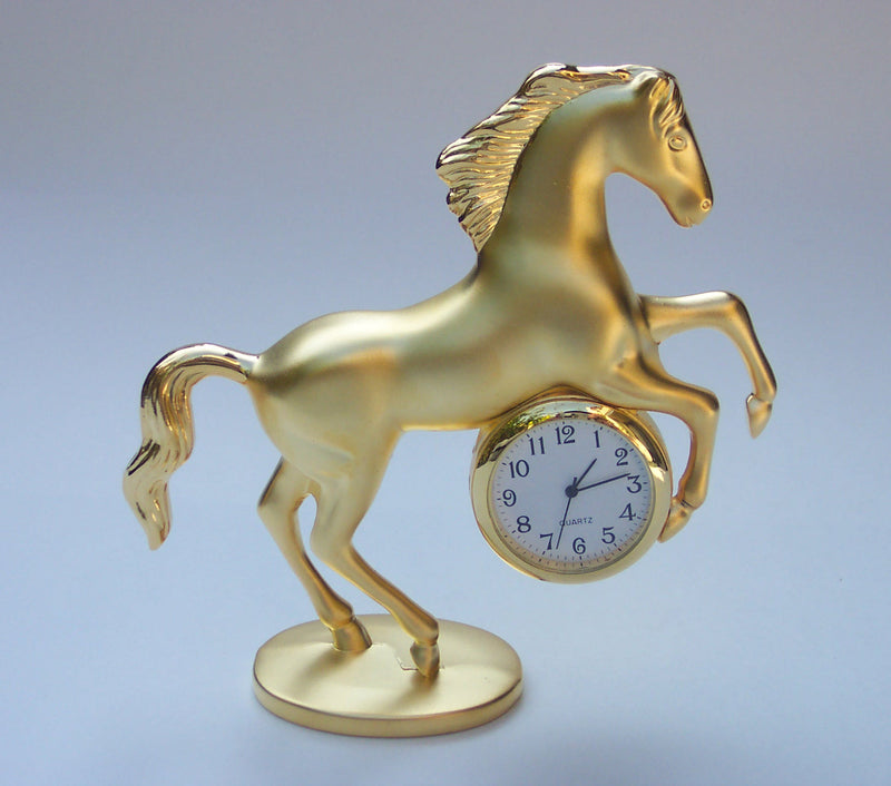 Gold Small Horse Collectible Mini Clock