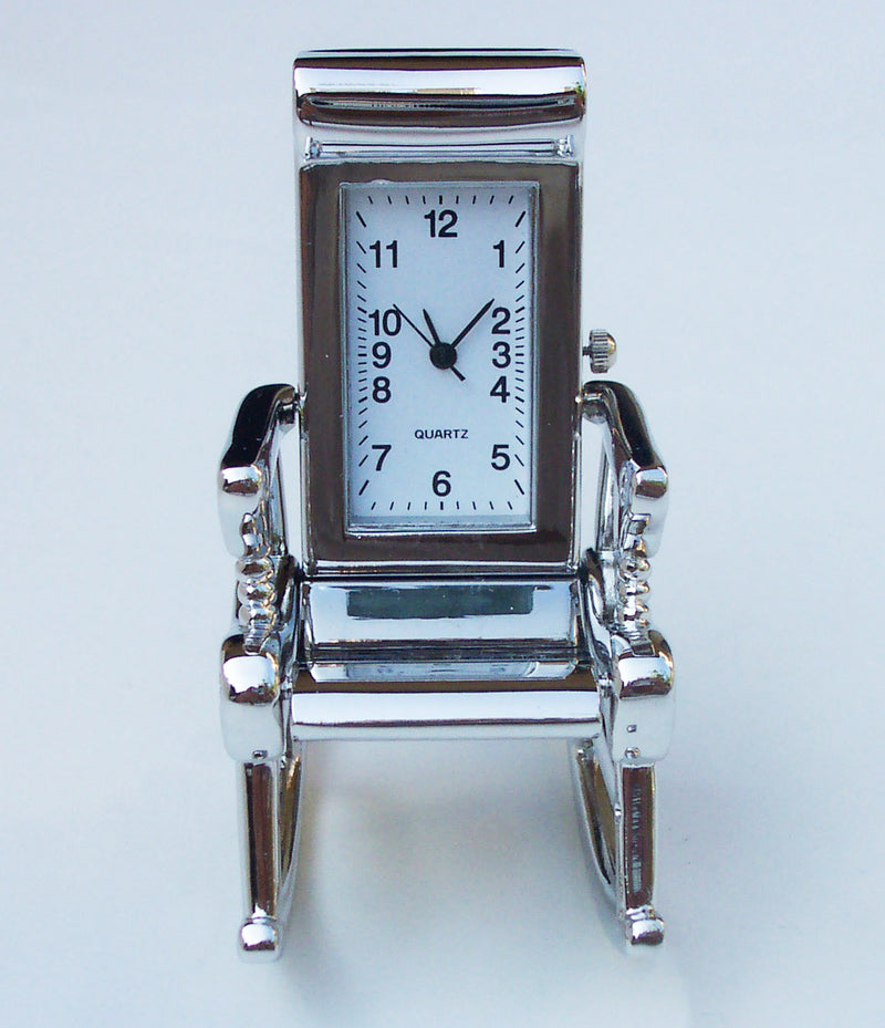 Silver Rolling Chair Collectible Mini Clock