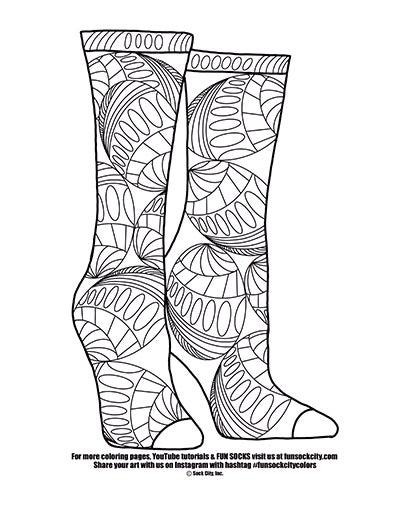 Dots and Stripes Sock Coloring Page