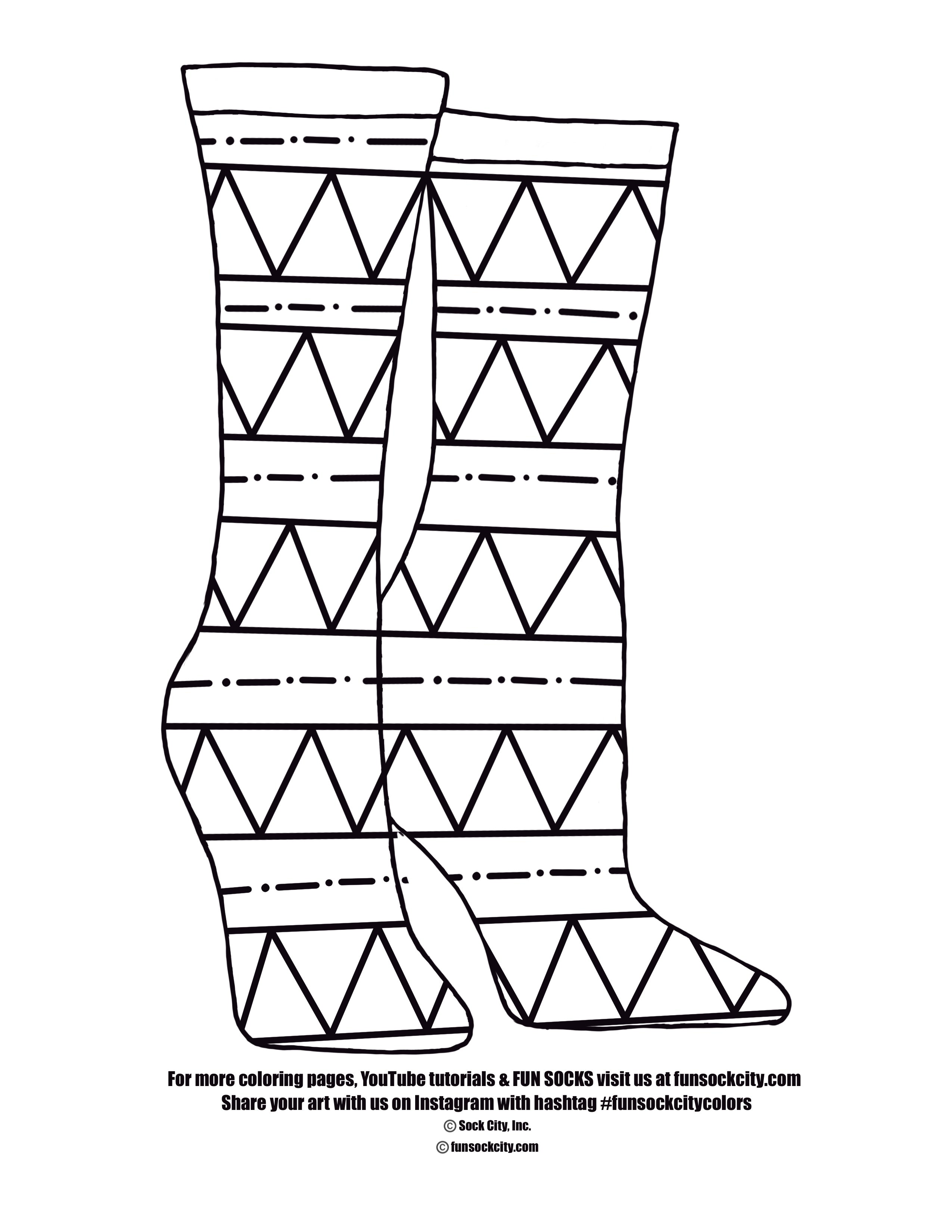 Hills and Valleys Sock Coloring Page