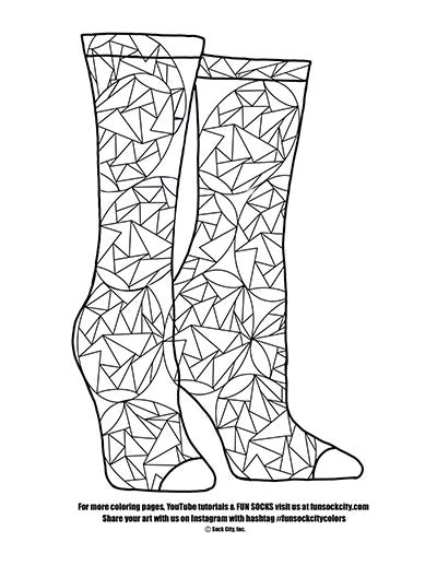 Kaleidoscope Sock Coloring Page