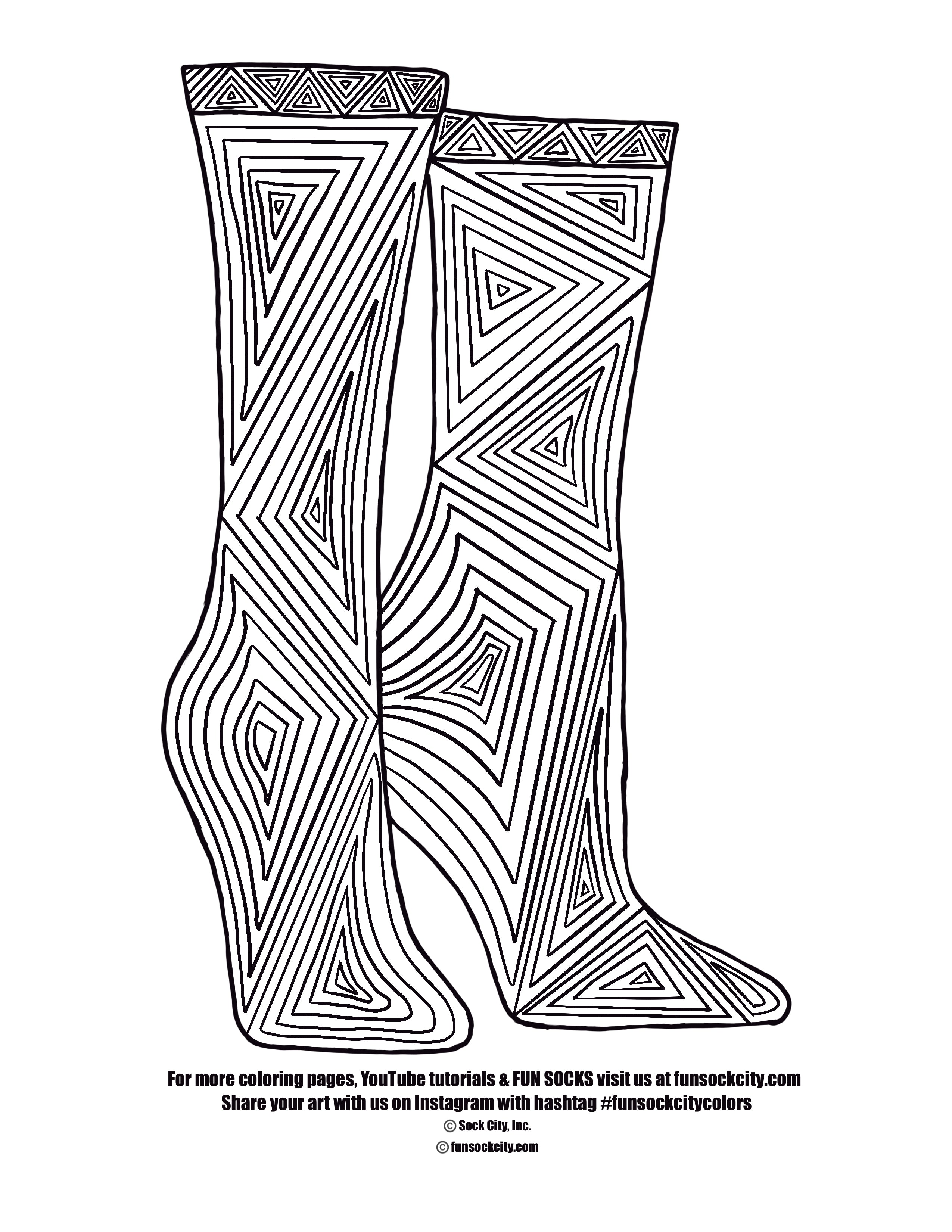 Long Lines Sock Coloring Page
