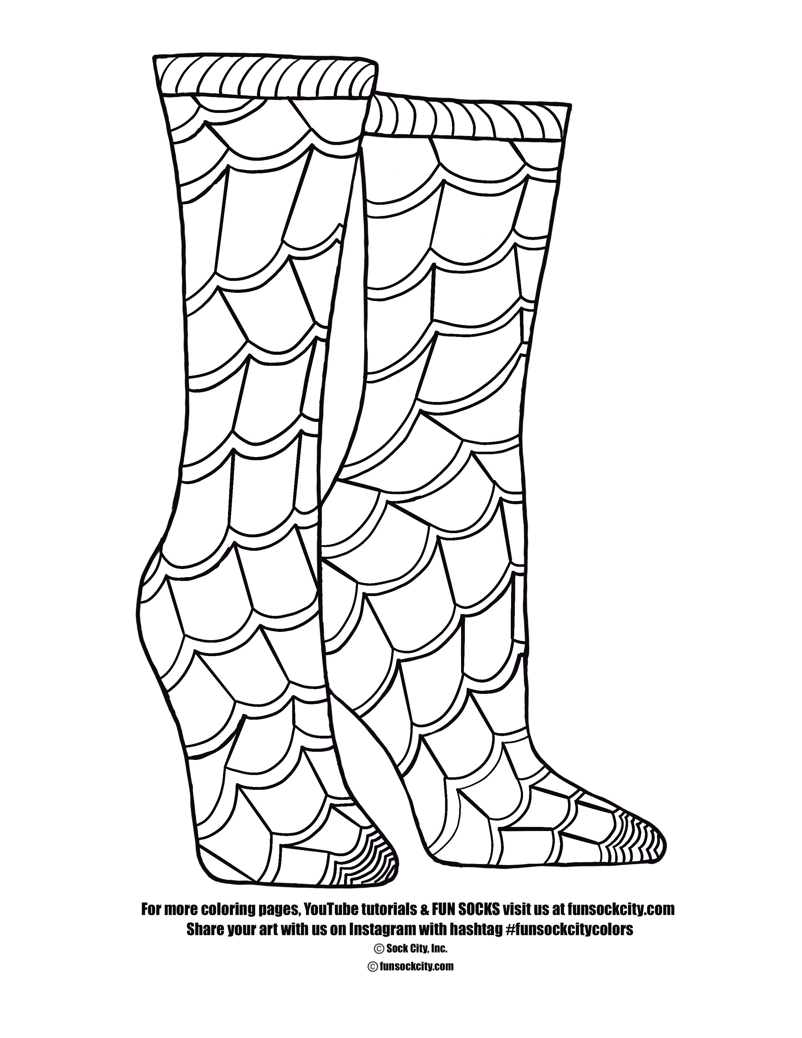 Spiderweb Sock Coloring Page