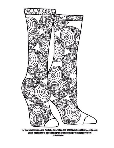 Spiral Sock Coloring Page