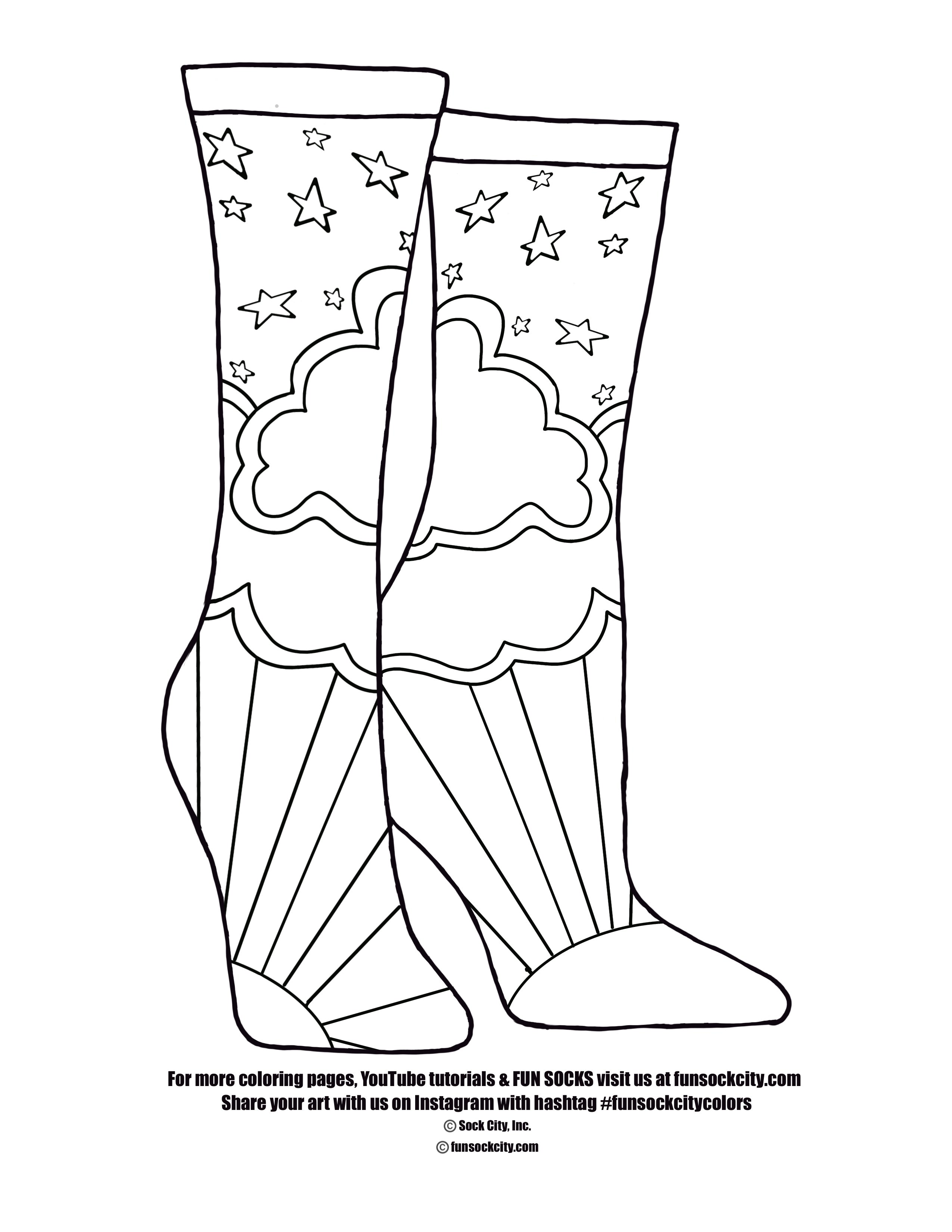 Starry Rise Sock Coloring Page