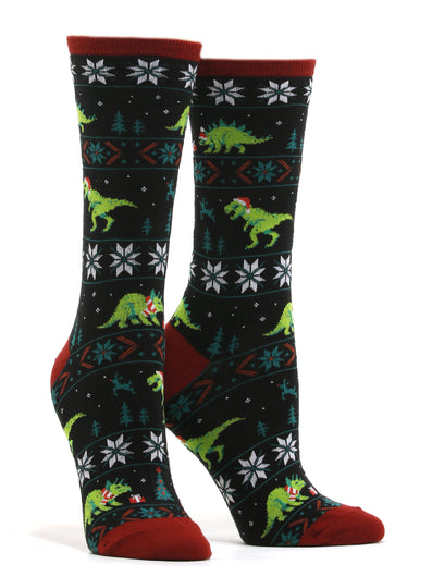 Women's Santasaurus Rex Socks